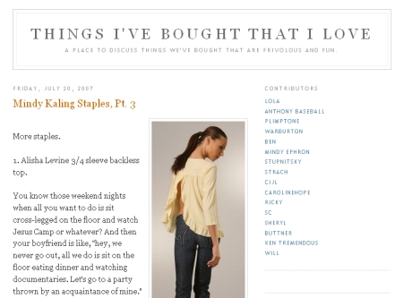 "Blog Reading: ""Things That I Bought That I Love"""