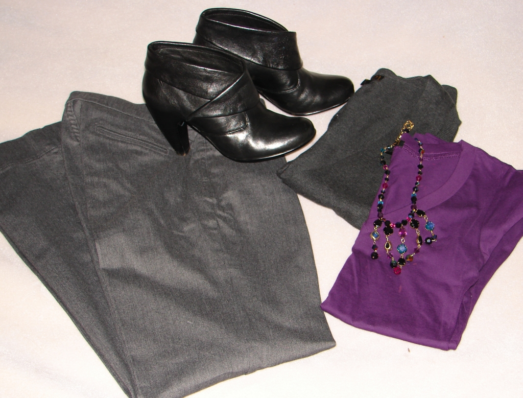 Today's Outfit: Purple & Gray