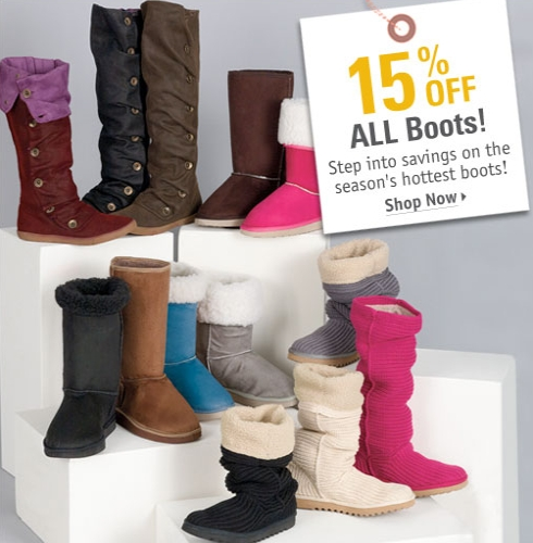 15% OFF Boots + Free Shipping at Delias