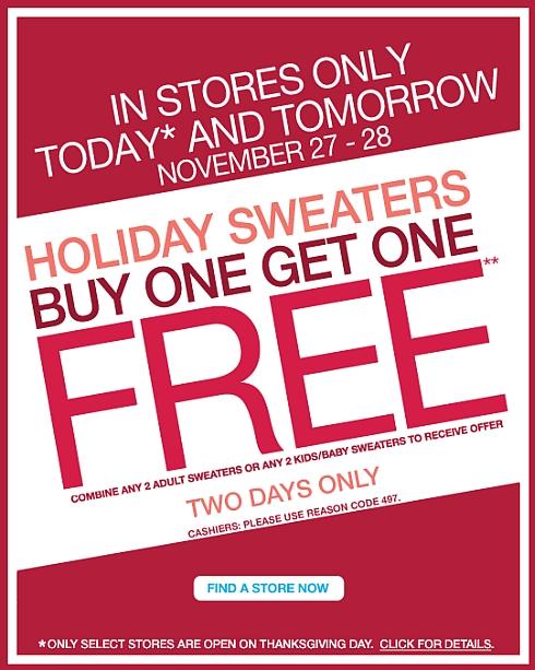Gap Buy 1 Get 1 FREE Sale On Sweaters