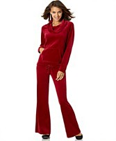 Macy's Velour Cowl-Neck Sweatsuit