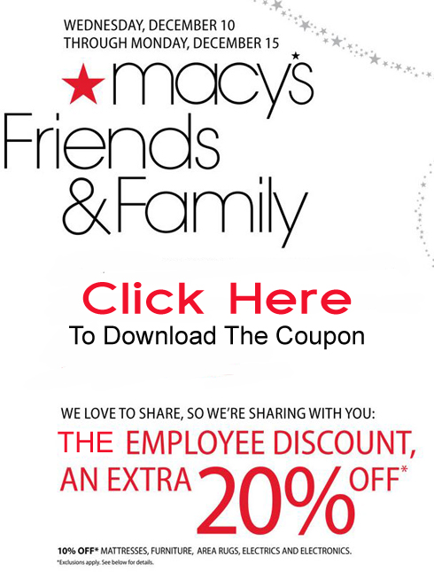 We Are Offering Our Readers ONLY The Friends & Family Discount At Macy's!