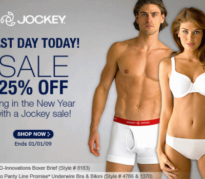 Last Day: Jockey Sale 25% Off + Free Shipping Offer