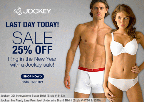 Last Day: Jockey Sale 25% Off + Free Shipping Offer
