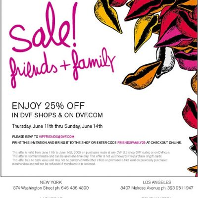 DVF 25% Off Friends & Family Sale Now Till Sunday