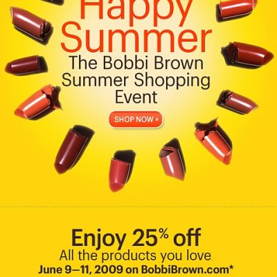 Bobbi Brown Summer Shopping Event: 25% Off Plus Free Shipping!
