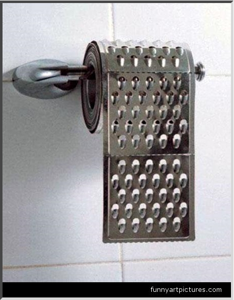 cheese grater toilet paper. about their toilet paper.