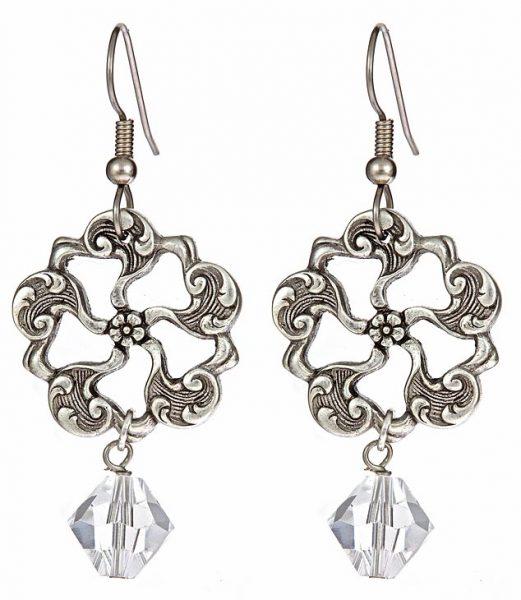 Twisted Silver Swarovski Crystal Glacier Earrings