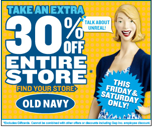 Old Navy Super Sale – 30% off Everything on Friday and Saturday ONLY!
