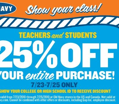Students get 25% Off at Old Navy This Weekend!