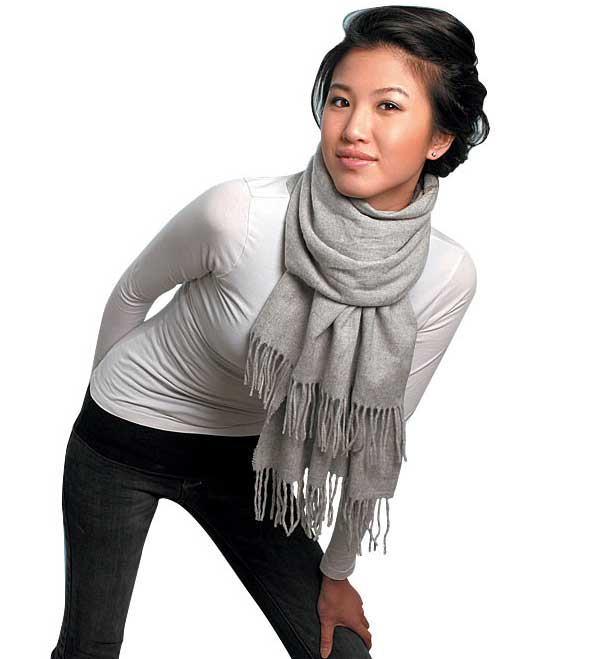 pashmina shawl in half along its length fold the pashmina shawl in Pashmina Scarf How To Wear