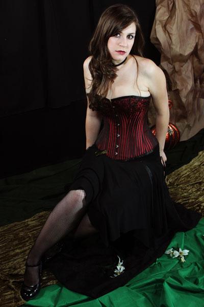 c4a888833f2 Corset Vampire Costume   Black Victorian Corset Long Skirt And ...
