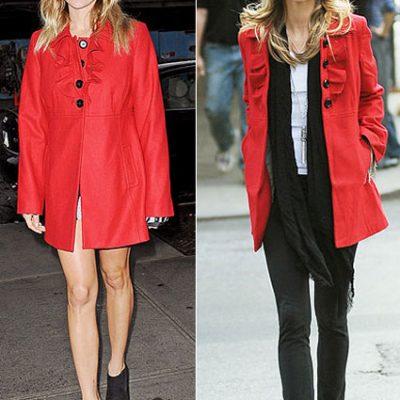 Celebrity Fashion: Red Ruffle Coat