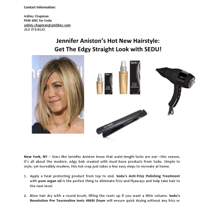 Jennifer Aniston's Edgy Straight Hairstyle Look with SEDU!