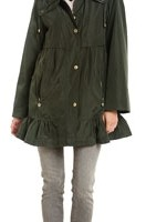 Betsey Johnson Military Ruffle Raincoat