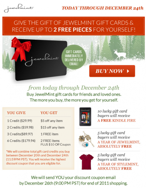 Jewelmint and Stylemint Gift Cards come with Bonus Gifts for You!