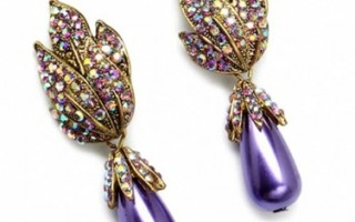 gennyfers-vintage-style-floral-accented-faux-purple-pearl-earrings