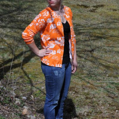 Today's Outfit: Foxcroft Orange Floral Cardigan