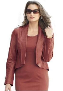 Fashionable Plus Size Leather Cropped Jacket