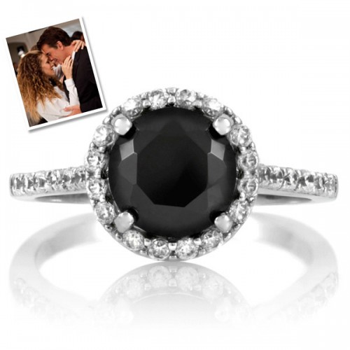 jewellery ring black setting engagement side stone prong thin design buy diamond