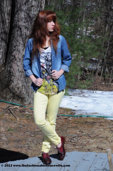 chambray oxfords and neon jeans