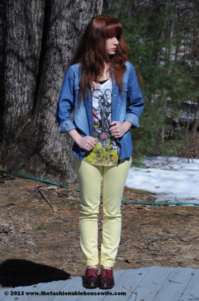 chambray with neon jeans