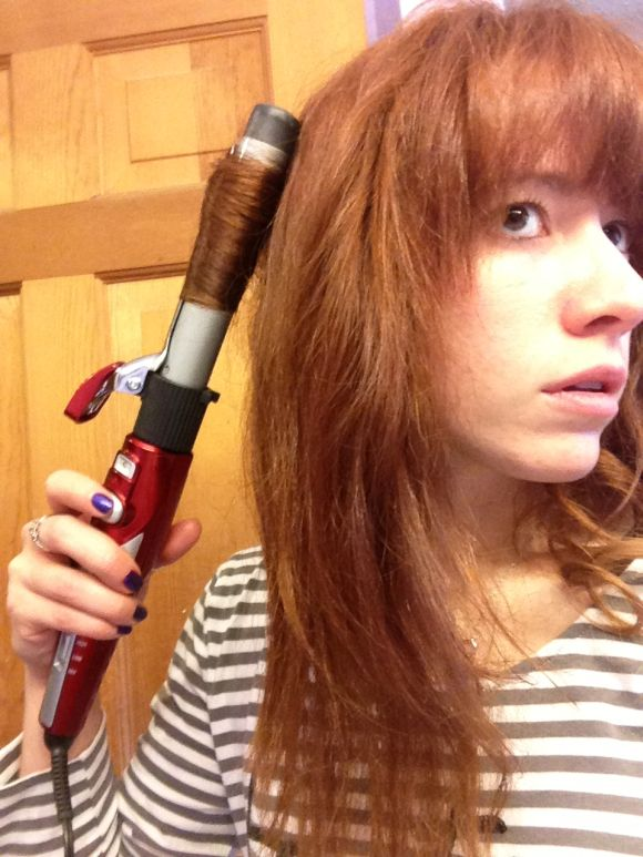 Hair on curling iron