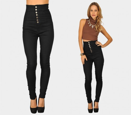 High Waisted Long Jeans | Bbg Clothing