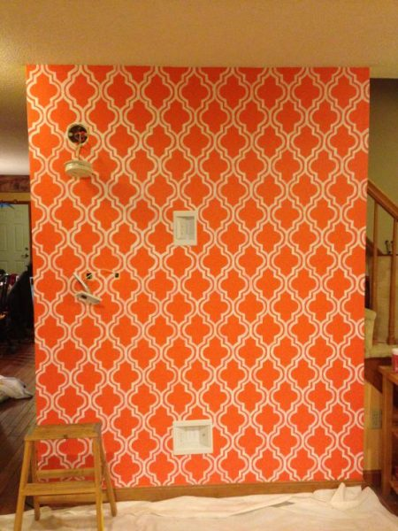 quatrefoil painted wallpaper