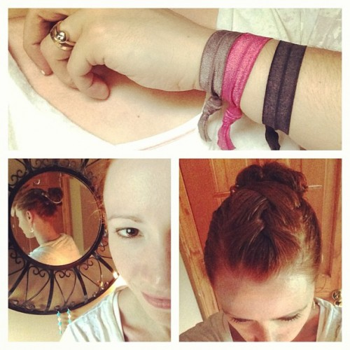 I m wearing Goody Ouchless Ribbon Elastics in my casual summer updo. I  french braided the top of my hair and pulled it back into a messy bun with  the ... 3ebeaeba095