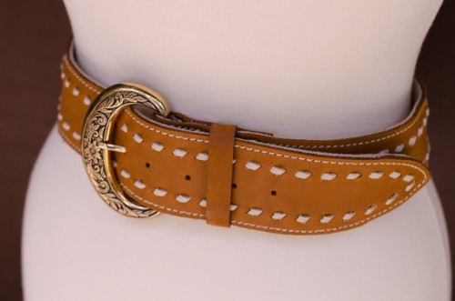 Wide Western leather belt