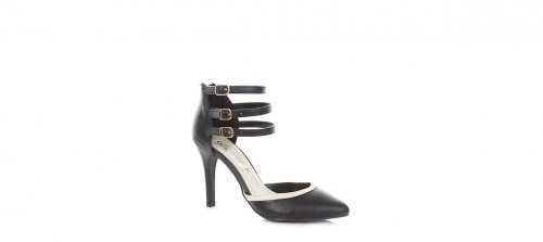 Ankle strap pointed court shoes