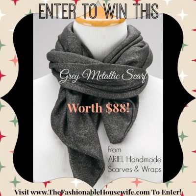 Day 5 Giveaway – ARIEL Handmade Grey Metallic Scarf worth $88