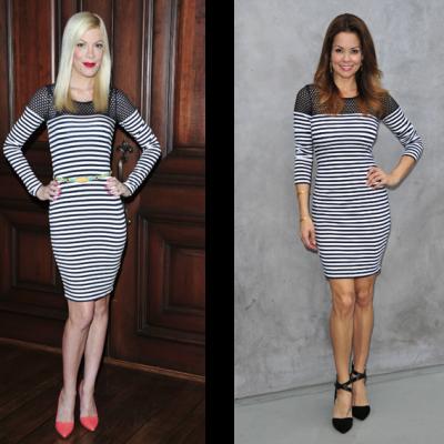 Celebrity Fashion: Tori Spelling & Brooke Burke wear Bailey44 Open Net Stripe Dress