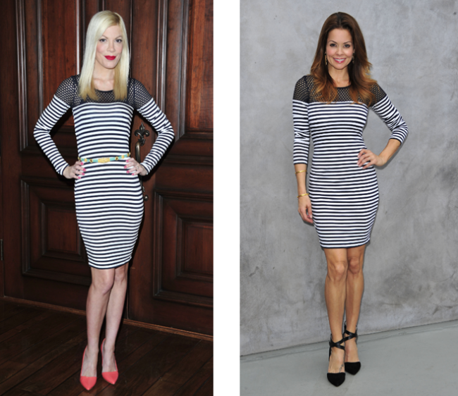 Celebrity Fashion: Tori Spelling & Brooke Burke wear Bailey44 Open Net Stripe Dress