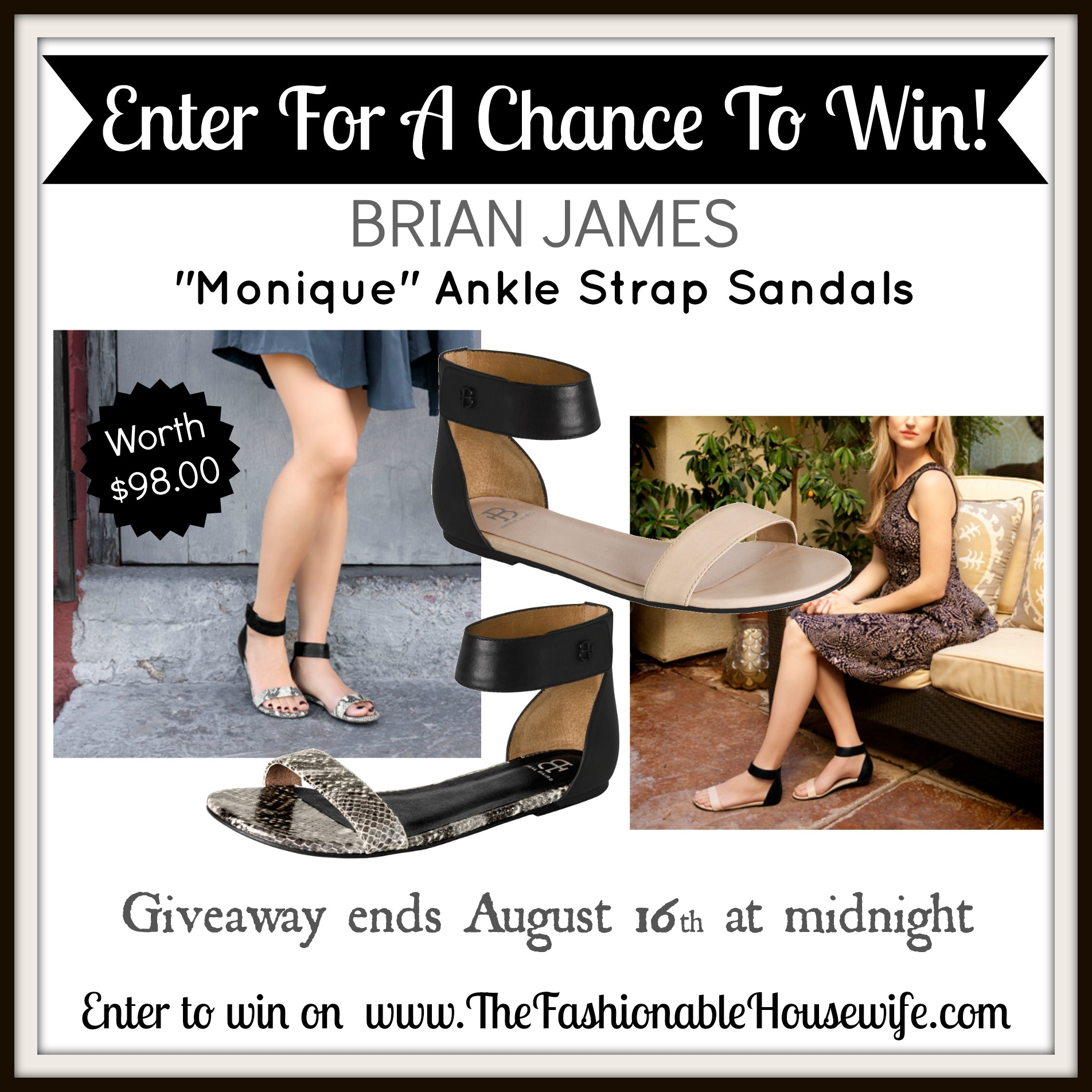 Enter To Win Brian James Monique Ankle Strap Sandals