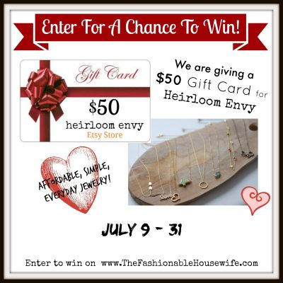 Enter To Win a $50 Gift Card for Heirloom Envy