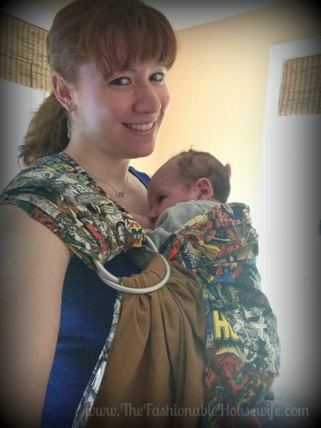 Today's Outfit: Marvel Comics Ring Sling Baby Carrier