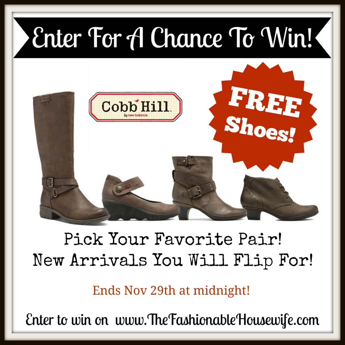 Enter To Win FREE Cobb Hill Shoes or Boots
