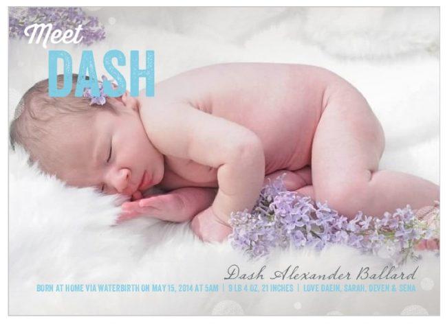 Dash birth announcement cards
