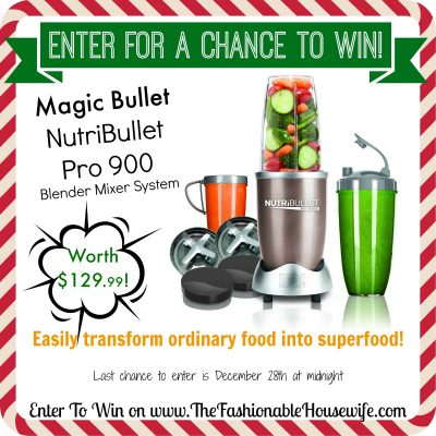 Enter For A Chance To Win NutriBullet Pro 900 Mixer Blender worth $129! #12DaysofChristmasGiveaways