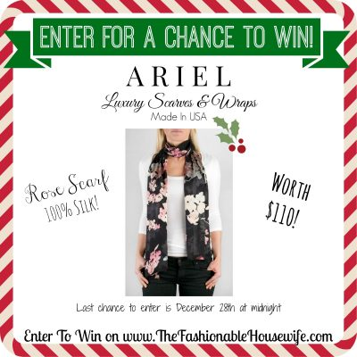 Enter For A Chance to Win ARIEL Rose Silk Scarf worth $110! #12DaysofChristmasGiveaways