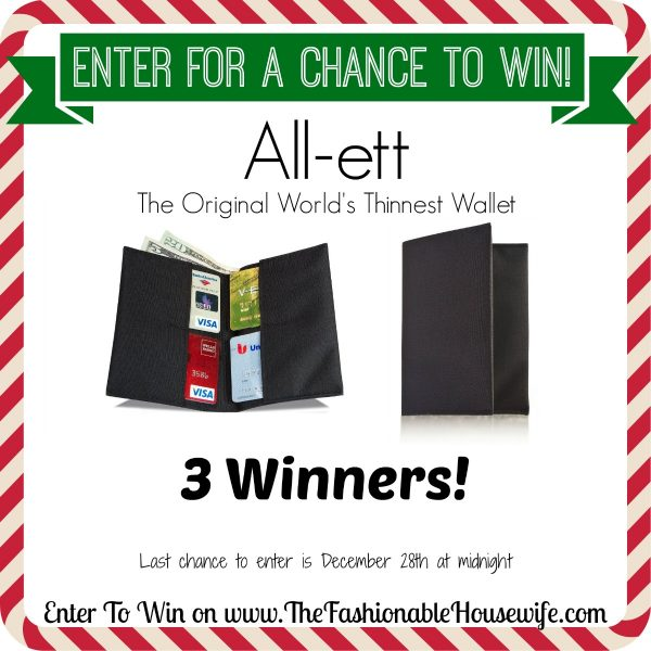 Enter For A Chance To Win All-ett Wallet The World's Thinnest Wallet! 3 Winners! #12DaysofChristmasGiveaways