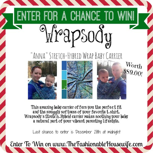 Enter For A Chance To Win a WRAPSODY Stretch-Hybrid Wrap Baby Carrier worth $89! #12DaysofChristmasGiveaways