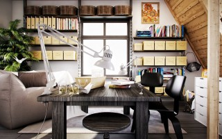 Stylish-Fashionable-Workspace-Designs-Image-01-Wonderful-Workspace-Designs-with-Black-Wooden-Table-And-Chairs-by-Annkos