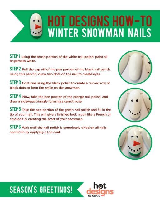 snowman christmas nail art