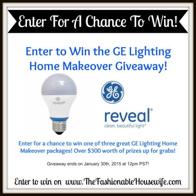 Enter to Win the GE Lighting Home Makeover Giveaway! (Ends 1/30)