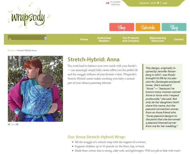 "TFH As Seen in Wrapsody ""Anna"" Baby Wrap"