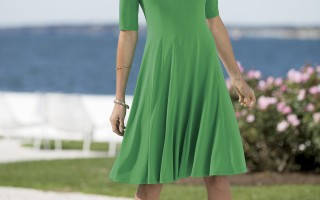 Chadwicks of Boston Magic Waist Fit and Flare Dress $59.99 Green