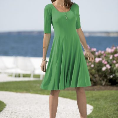 Spring Fashion: Green Fit & Flare Dress Styled 3 Ways